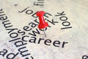 push pin falls between work and career